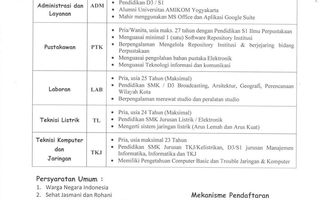 Lowongan Rekrutmen Dosen dan Tenaga Kependidikan Universitas AMIKOM Yogyakarta