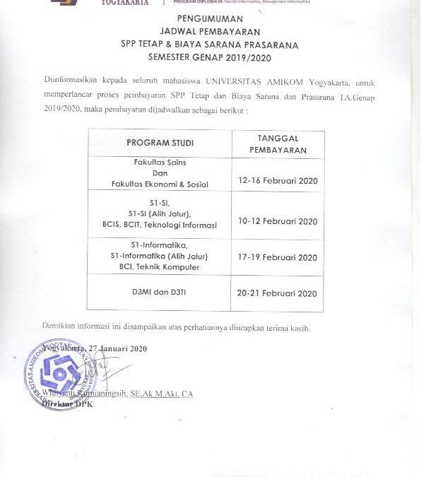 Pengumuman Jadwal Pembayaran Spp Tetap & Biaya Sarana Prasarana Semester Genap 2019/2020