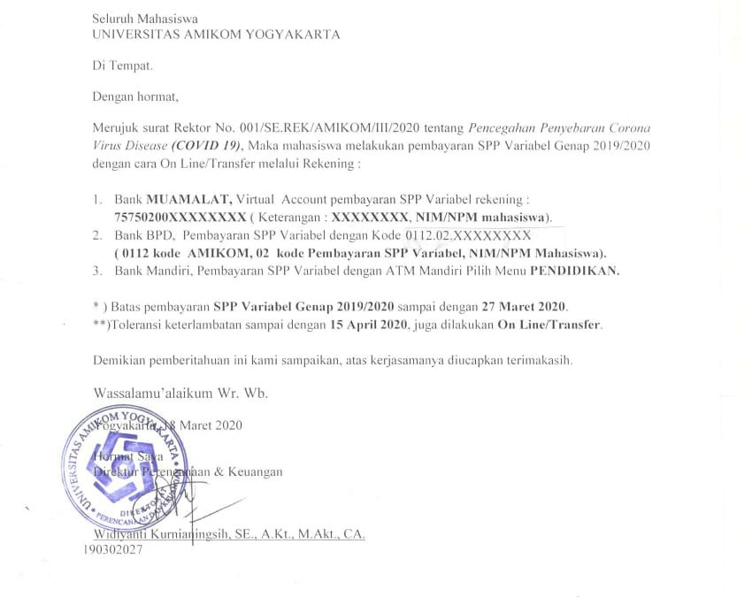 Info Pembayaran SPP Variabel Genap 2019/2020