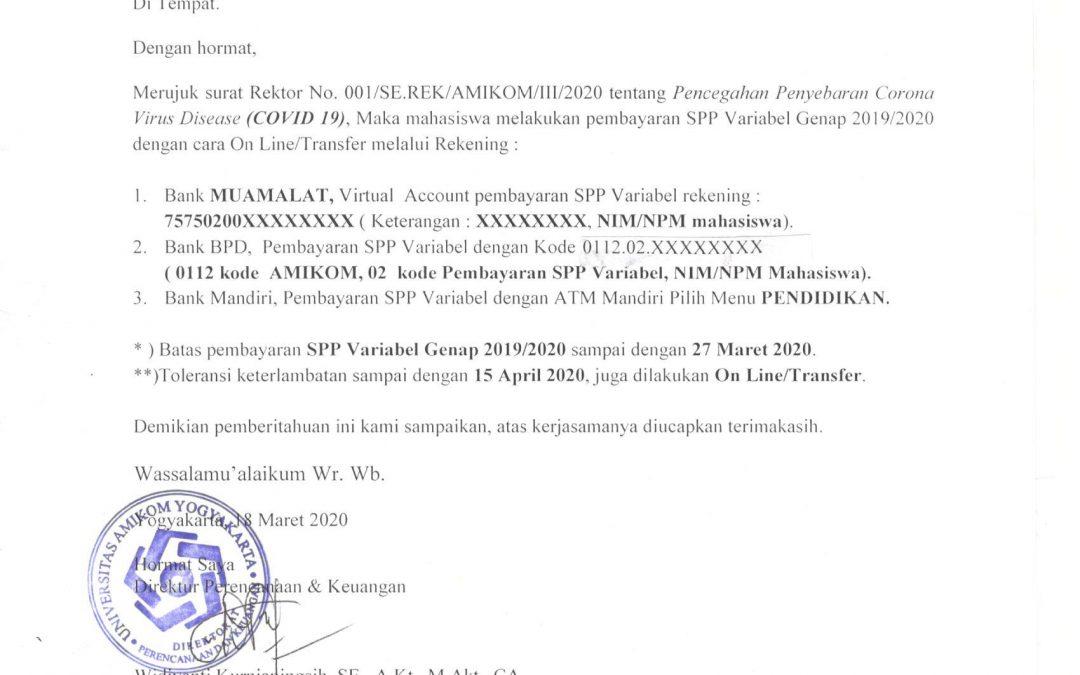 Himbauan Pembayaran Secara Online Untuk SPP Variabel Genap 2019/2020