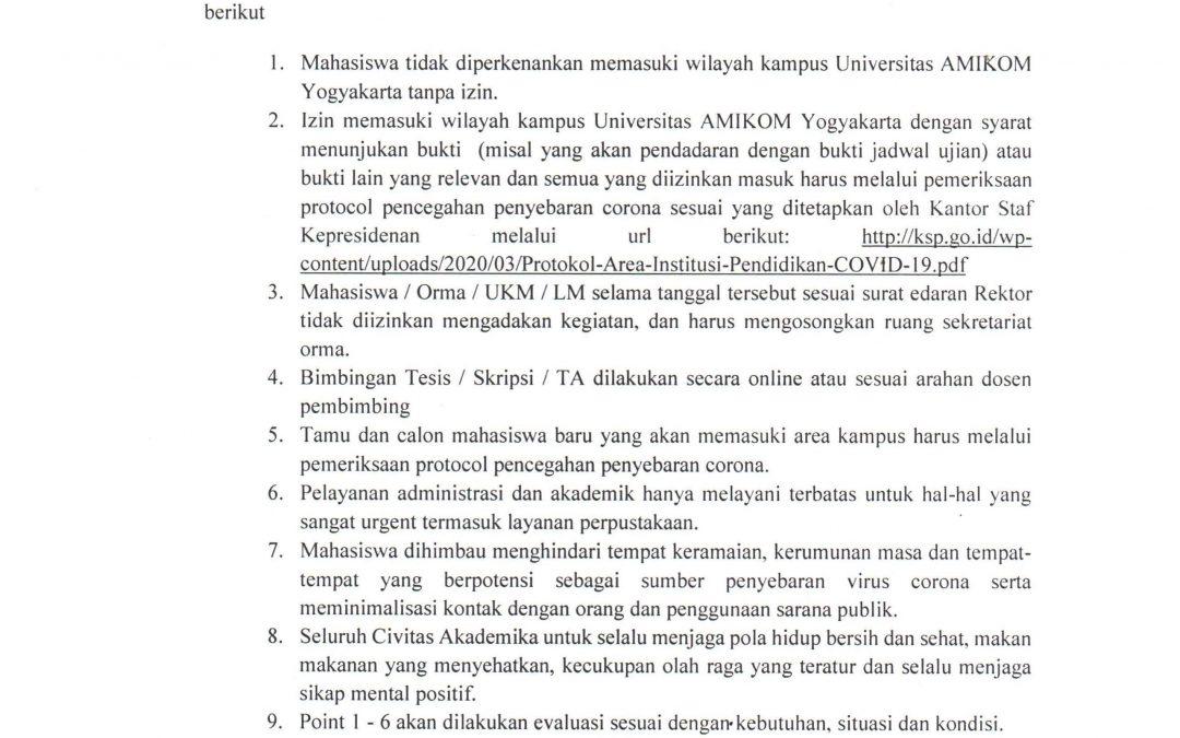 Surat Edaran Wakil Rektor III tentang Kebijakan Teknis Pencegahan COVID 19