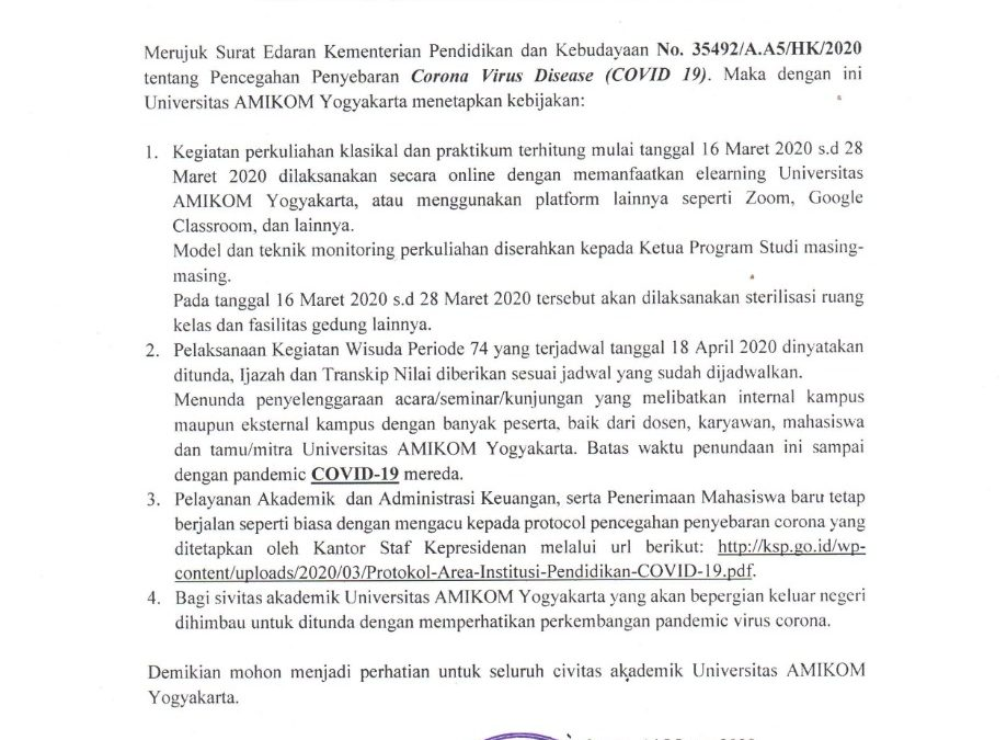 Surat Edaran Pencegahan Dampak Virus Corona Bagi Civitas Universitas Amikom Yogyakarta