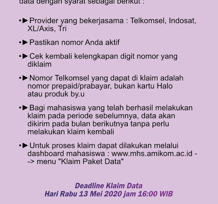 Deadline Klaim Data Rabu 13 Mei 2020