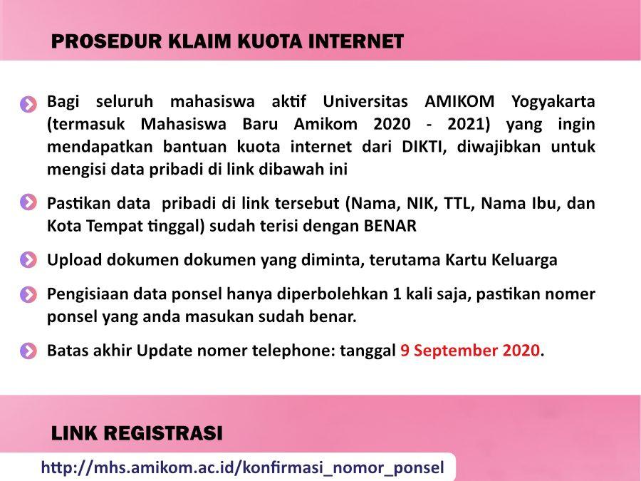 Bantuan Kuota Internet bagi Mahasiswa Amikom