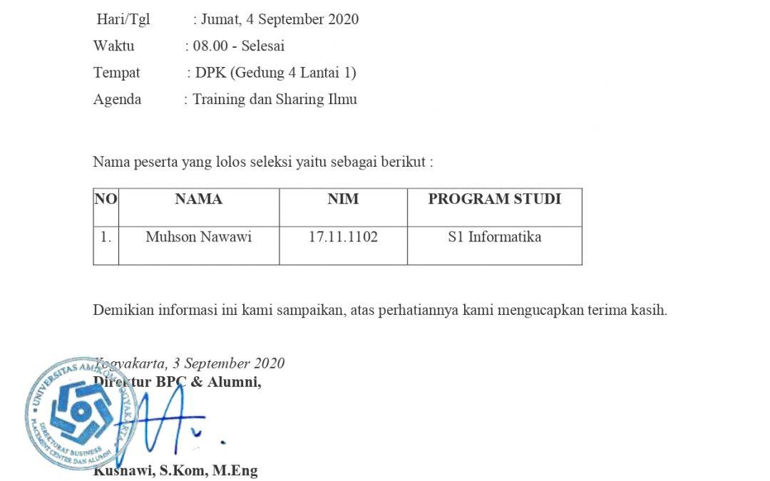 Info lolos SS DPK September 2020