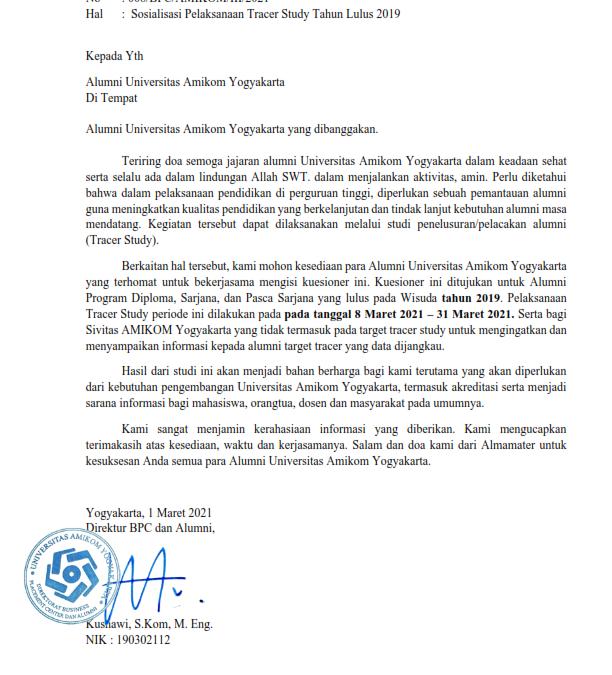Info Sosialisasi Pelaksanaan Tracer Study Tahun Kelulusan 2019