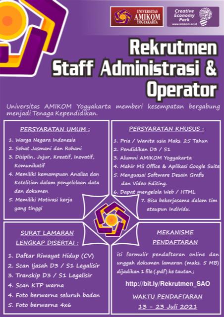 Rekrutmen Staff Administrasi dan Operator