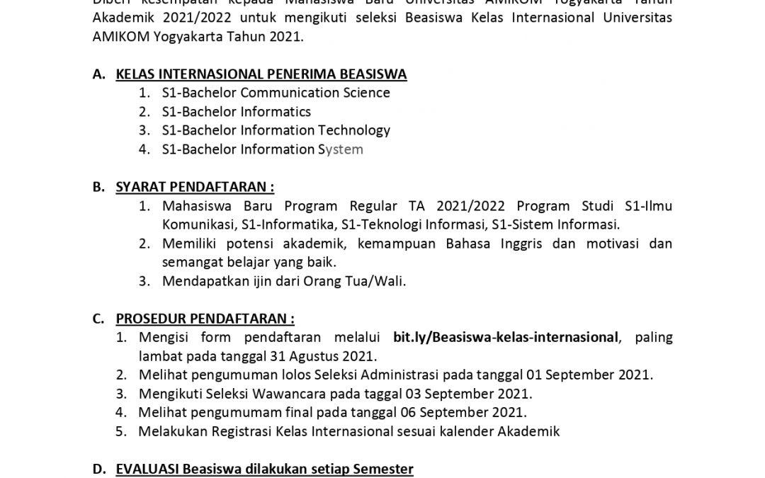 INFO BEASISWA KELAS INTERNASIONAL 2021 AMIKOM