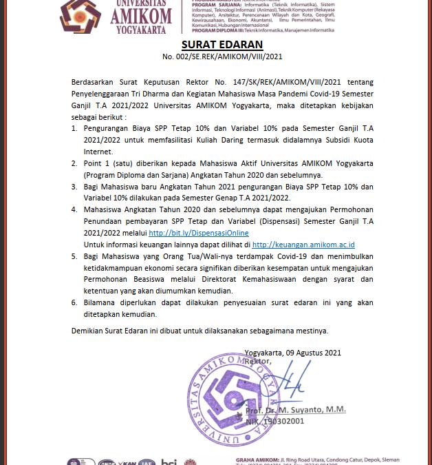 Info Terkait Pembayaran Selama Masa Pandemi Covid-19 Semester Ganjil T.A 2021/2022