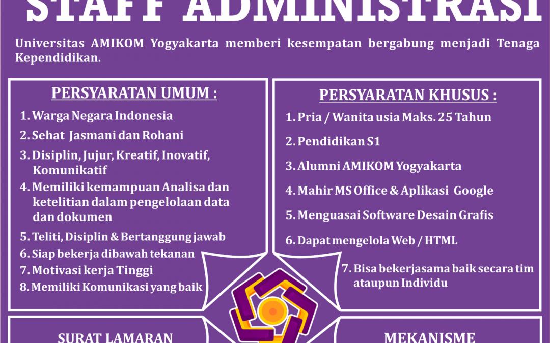 Rekrutmen Staf Administrasi Universitas AMIKOM Yogyakarta