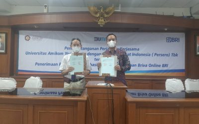 MoU antara Universitas Amikom Yogyakarta dengan Bank Rakyat Indonesia (BRI) Cabang Sleman